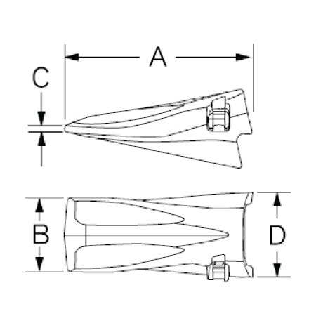 Ultralok Standard Bucket Teeth Drawing